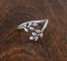 Sterling Silver For Labor Day Gift Ladies Leaf Toe Ring Solid Metal 925