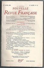NOUVELLE REVUE FRANCAISE N° 40 KASSNER PROUST BOISSONNAS AUDIBERTI...1956