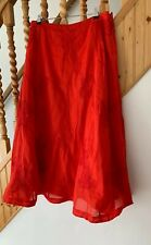 Monsoon Red Long Gypsy Cotton Embroidered Skirt Size 12