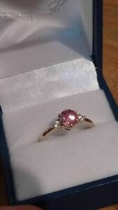 9k Gold Natural Pink Zircon Ring from Rocks and Co, size N