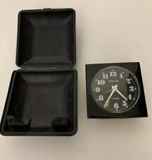 Vintage Travel Clock Europa 1 Jewel Wind up Alarm Blue Case Works