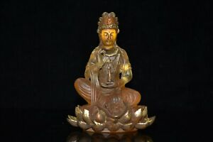 """4.9""""China Coloured Glaze Gilding Paintings Buddhism Lotus Flower Guanyin Statues"""