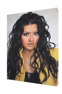 CHRISTINA AGUILERA WITH CHARCOAL SOFT PASTEL PAINT PRINT ON FRAMED CANVAS