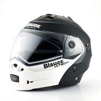 Casco Modulare Blauer Sky Moto Scooter Doppia Omologazione NERO BIANCO