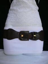 New Women Thin Belt Fashion Elastic Hip Waist Dark Brown Bow Silver Buckle S M