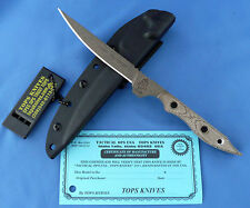 Tops Lion's Toothpick Knife Green Canvas Micarta 1095 Carbon Steel Usa
