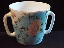 Vintage Ceramic Hand Painted Floral Double Handle Ice Bucket Or Flower Planter