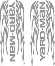 "2-YARDMAN - FLAMES VINYL DECALS SILVER 3.5"" X 9"" EACH 1 LEFT SIDE & 1 RIGHT SIDE"