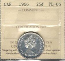 1966 Twenty-Five Cents ICCS PL-65 STUNNING Proof-Like QEII SILVER Canada Quarter
