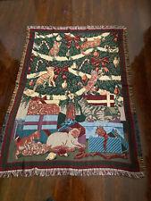 Cat Kitten Throw Blanket Goodwin Weavers 48 x 68 Kitten Christmas Vintage USA