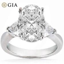 1.51 carat Oval shape DIAMOND GIA G color VS2 Wedding Ring w/ 2 Trillion cut 14k