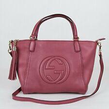 Gucci SOHO Dark Pink Leather Zip Top Medium Tassel Bag w/shoulder Strap 369176