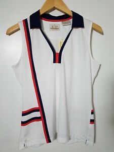 1 NWT EP PRO WOMEN'S S/L POLO, SIZE: MEDIUM, COLOR: WHITE/NAVY/RED (J128)