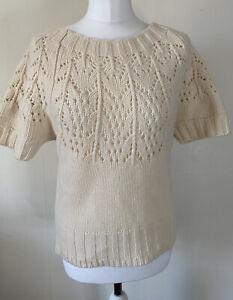 GAP 100% Lambswool Cream Short Sleeved Knit Jumper Size S Layer Boho