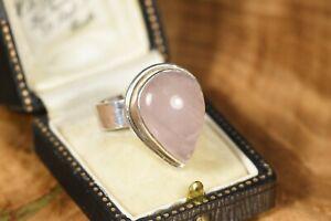 Large Sterling Silver Rose Quartz Statement Ring Full UK Hallmarks 925 Size S