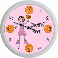 I Love Basketball Custom Personalized Wall Clock Girl Player Sports New 10""