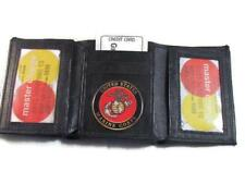 USMC US MARINE CORPS BLACK LEATHER TRI FOLD WALLET 2 ID 17 CARD WALLET NEW