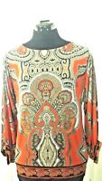 ALFANI PETITE WOMAN'S COLORFUL TUNIC- TOP LONG SLEEVE SCOOP NECK SIZE P/S.