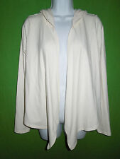 Express sexy stretch M cotton blend ivory open front sweater hood long sleeve