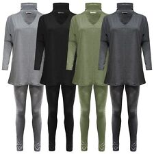 Womens Ladies Plus Size Choker Cut Out Batwing Lounge wear Jogging Set Tracksuit