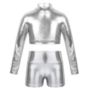 Kids Girls Shiny Metallic Crop Top+Skinny Pants Leggings Performances Dancewear