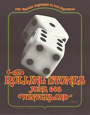 MINT Rolling Stones 1972 Winterland BG 289 TUMBLING DICE Poster