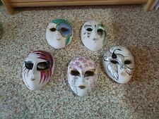 Five Ceramic Small Painted Faces Made In Taiwan
