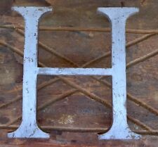 "RECLAIMED - ARCHITECTURAL - 8"" MARQUE SIGN LETTER - 3/8"" SOLID BRASS ""H"" 4 BOLTS"