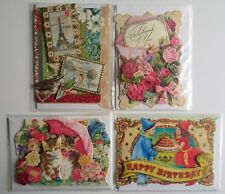 4 x Blank Mini Cards Paris Cat Flowers Punch Studio Dimensional Birthday Thanks