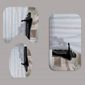 Prank Adult Shower Curtain With 12 Hooks Bath Mat Bathroom Toilet Cover Rug Set