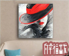 """Hand-painted Modern Abstract Art Oil Painting Wall Decor """"Sexy Red Lip"""" No Frame"""