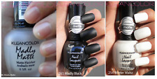3 Kleancolor Nail Polish Madly Matte Clear, Matt White, Matte Black lot Lacquer