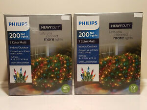 2 count x 200 Philips Heavy Duty Christmas Net Lights Multi Color * 4x8 ft * NEW