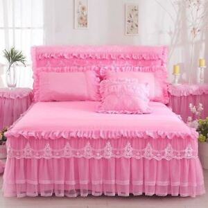 1 Piece Lace Bed Skirt with Pillowcases bedding set Princess Bedding Bedspreads