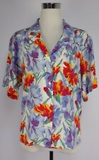 C.C. Courtenay VTG Size 10 Cheerful 100% Silk Button Blouse Top Short Sleeves