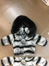 CHILDRENS CHILDS CHINCHILLA FOX BOMBER JACKET HOOD DETACHABLE AGE 2,3,4 NEW