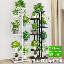 7-Tier Metal Plant Stand Flower Pot Display Rack Ladder Shelf Indoor Outdoor