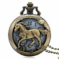 Bronze Pocket Watch Quartz Vintage Retro Horse Full Hunter Pendant Fob Necklace