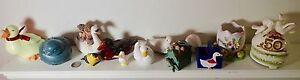 lot of 12 bird figurines ceramic resin porcelain ducks swan doves music box