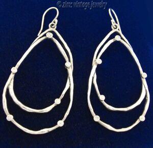 SILPADA Sterling silver Constellation cz double Hoop wire dangle EARRINGS W2268