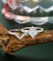 Engagement Wedding Bridal Ring Set 1.95 Ct Princess Diamond 14k White Gold Cert.
