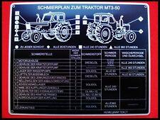 MTS 50 Belarus ( Schmierplan ) Schild Hinweisschild Motor Getriebe Lenkung Pumpe