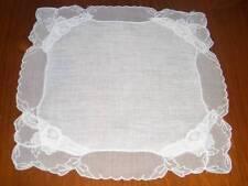 Vintage Wedding Sheer Overlay Emblem Hanky Handkerchief Hankies