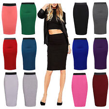WOMENS LADIES STRETCH PLAIN WORK CASUAL MIDI JERSEY TUBE PENCIL SKIRT SIZE 8-22