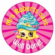 80 Personalised Teacher Reward Stickers Pupils Shopkins Cupcake Queen pink