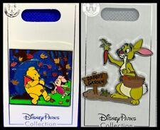Disney Parks 2 Pin lot Winnie Pooh & Piglet rain slider + Rabbit - New