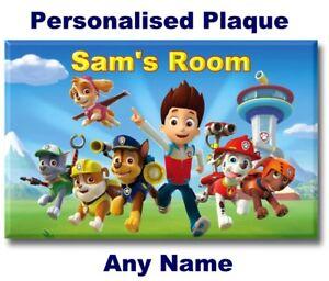 Paw Patrol Door Name Plaque Sign bedroom girl boy kids child Christmas gift etc.