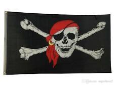 Jolly Roger Pirate Bandana Red Hat Skull Crossbones Flag 3'x5' Wall Halloween