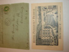 Hotel Pension De France Posted Envelope & Card to Miller, Lehighton, Pa 1892