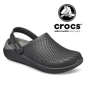 Crocs LITERIDE Clog Slip On Comfort Summer Pool Wide Fit Sandal BLACK Size UK 10